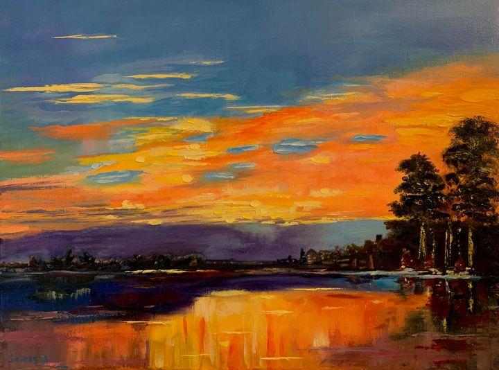 """Sunset Scene"" Oil painting -  Larisat17"