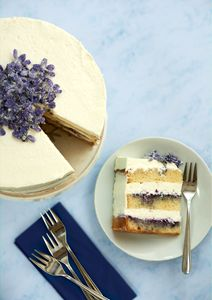 Sugar violet cake and a slice
