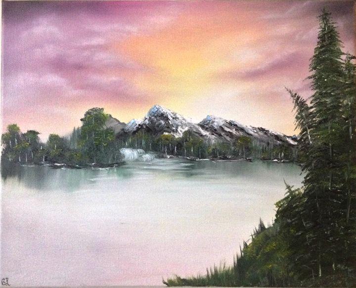 16x20 Mountain Sunrise Oil Painting - The Purple Canvas
