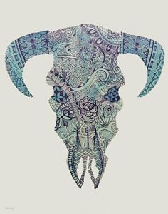 Cow Skull in Turquoise & Violet