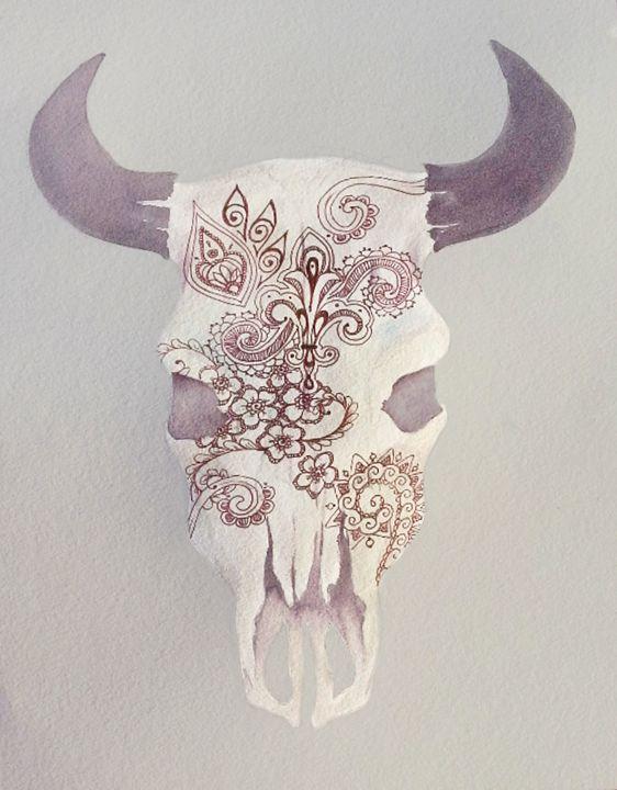Maroon Skull with Maroon Details - InspiredCreativeArt