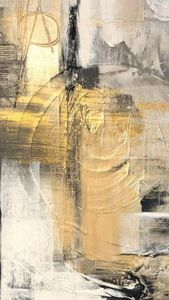 Abstract painting with golden touch
