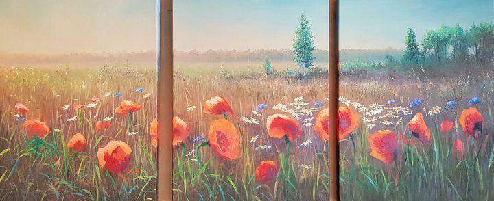 Poppies Triptych - Vladimir Jarmolo