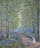 pastel painting of English woodland