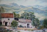 Spanish landscape in soft pastel