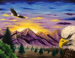 """Smoky Mountain Eagles"" Painting"