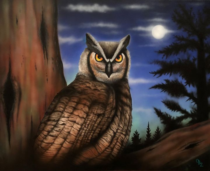 """Nocturnal"" Owl Art Prints - Gregg's Deep Colors"