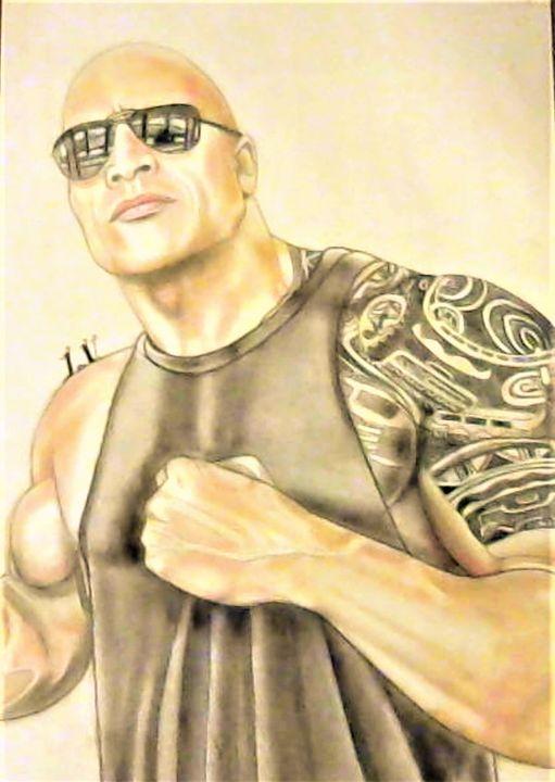 Dwayne Johnson - Drawings of Celebrities by Lisa Vetrone