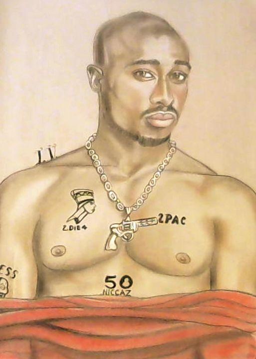 Tupac Shakur - Drawings of Celebrities by Lisa Vetrone