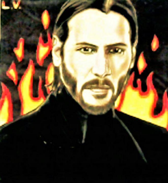 Keanu Reeves - Drawings of Celebrities by Lisa Vetrone