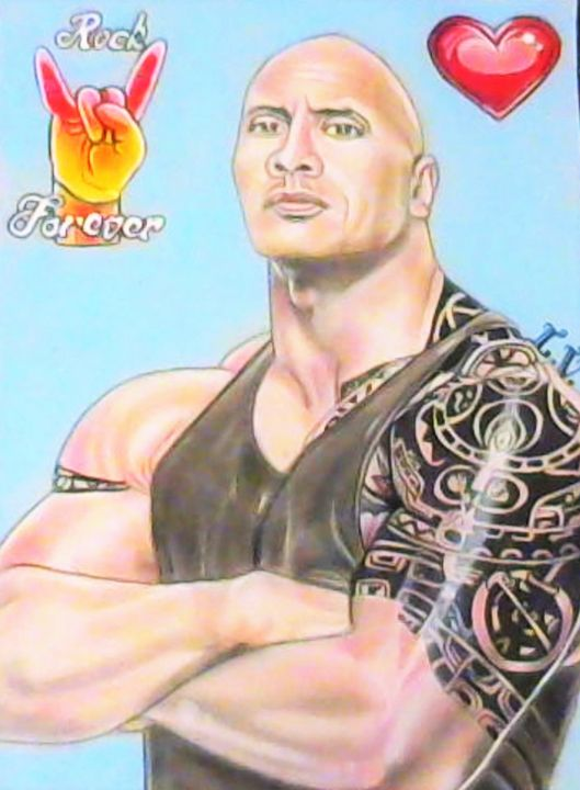 Dwayne Johnson - Drawings of Celebrities by Lisa Vetrone