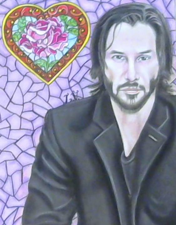 Keanu Reeves - Drawings of Celebrities by Lisa Vetrone