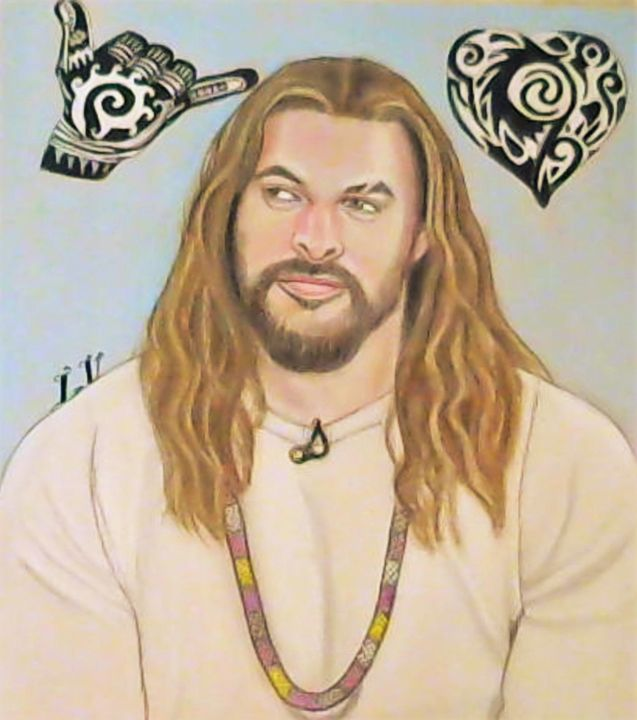 Jason Momoa - Drawings of Celebrities by Lisa Vetrone