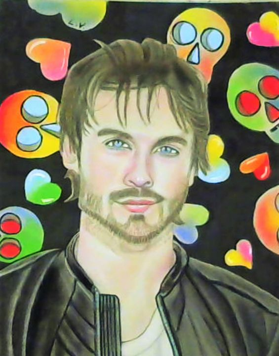Ian Somerhalder - Drawings of Celebrities by Lisa Vetrone
