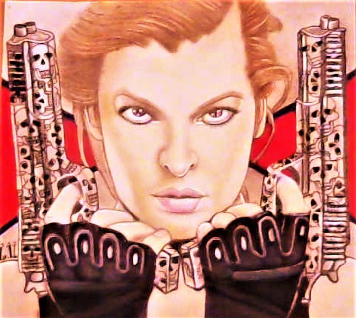 Milla Jovovich - Drawings of Celebrities by Lisa Vetrone