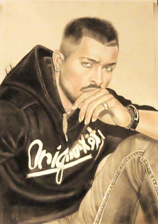 Hardik Pandya - Drawings of Celebrities by Lisa Vetrone