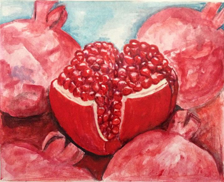 Pomegranates Original Watercolor - Maryam44i