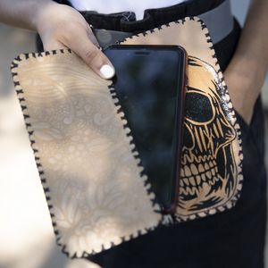 Leather phone case with stylized sku