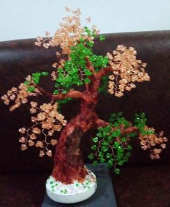 beaded bonsai - orange
