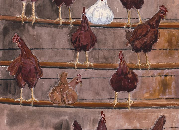 Chickens Roosting - Nat Simkins New England Painter