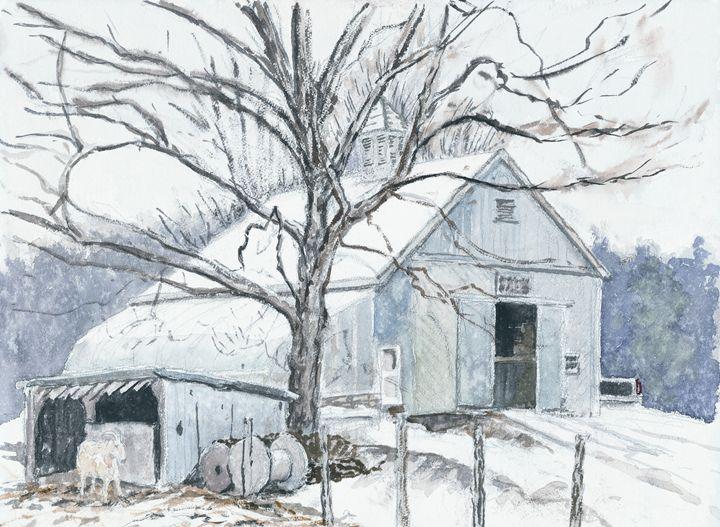Barn in Winter - Nat Simkins New England Painter