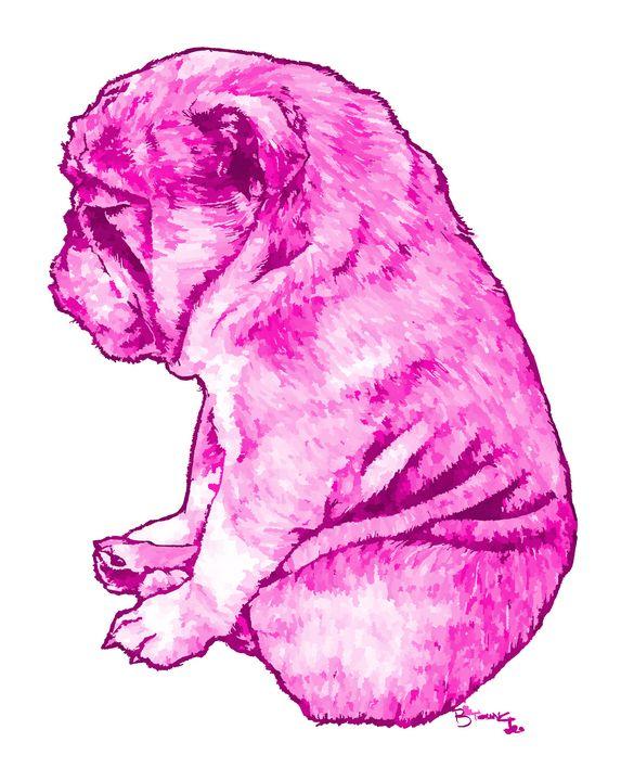 bulldog pug in pink - BYoung