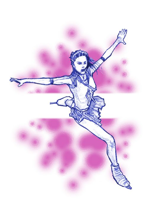 Blue and Pink Ice Skater - BYoung