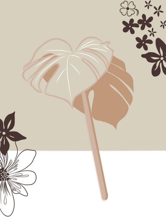 Botanical Beige Abstract - tiazArtDesigns
