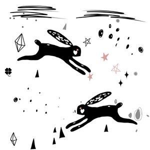 Black Rabbits Abstract