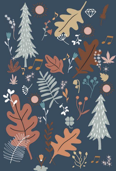 Navy Floral Pattern - tiazArtDesigns