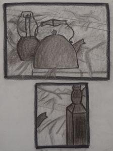 Tea Kettle and Jack Daniels Bottle