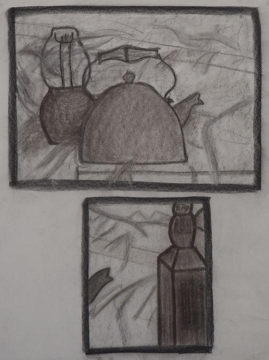 Tea Kettle and Jack Daniels Bottle - Heaven Lemus