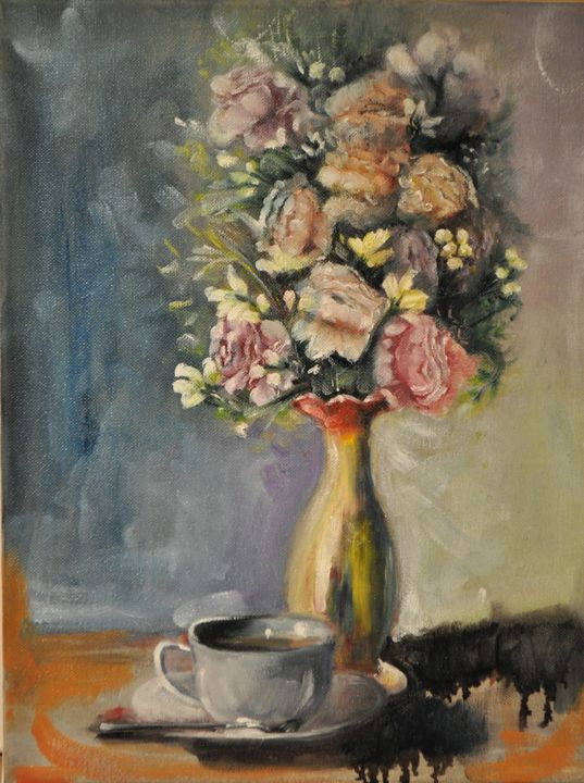 Flowers and Teacup - Kharen love arts