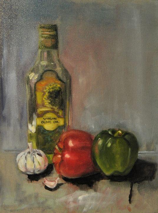Olive Oil Still Life - Kharen love arts