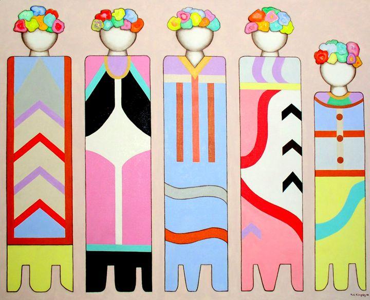 Five Flower Ladies - Art Jacky Gallery