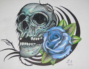 Blue rose skull