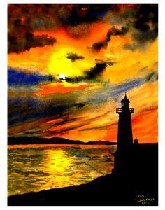 Orange Sunset Lighthouse
