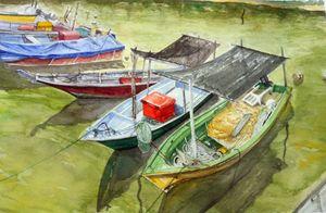 Fishing Boats at Terengganu - Apit Anip Arts