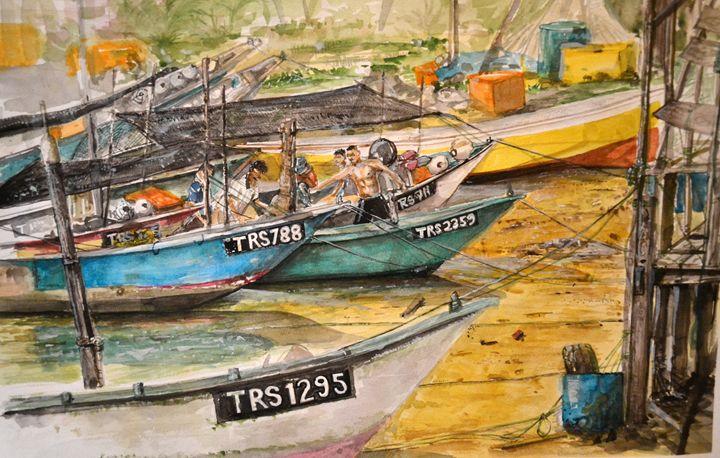 Fishing Boats at Marang - Apit Anip Arts
