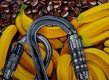 Pop art bananas and coffee