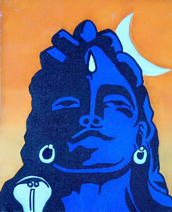 Lord Shiva in Yoga mudra. - Abstract Paint Club