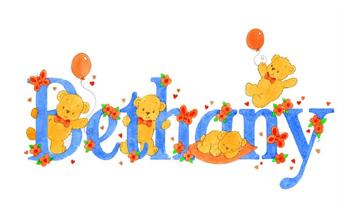 Bethany teddies - illustrated names by Jayne Farrer