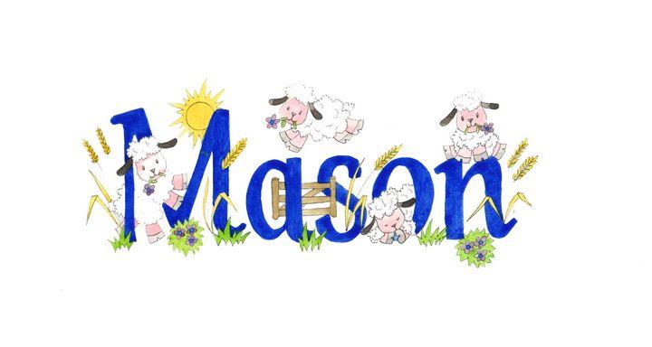 Mason sheep - illustrated names by Jayne Farrer