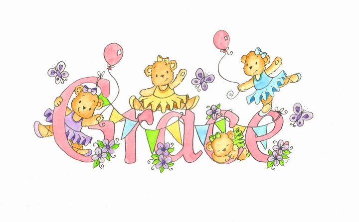Girl teddies - illustrated names by Jayne Farrer