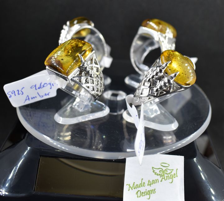 Angel with Claws Amber Rings - Made 4an Angel Designs