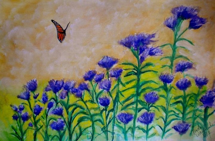 Monarch butterfly and larkspur - Linda Waidelich