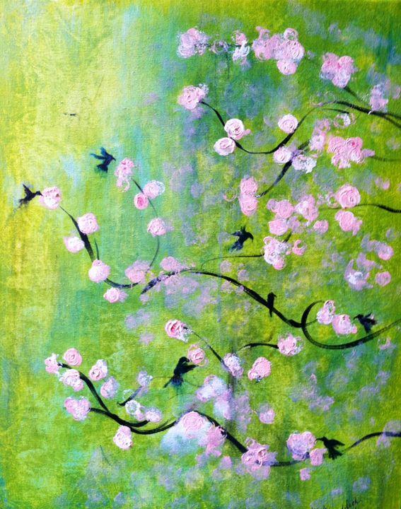 Fluttering Hummingbirds - Linda Waidelich