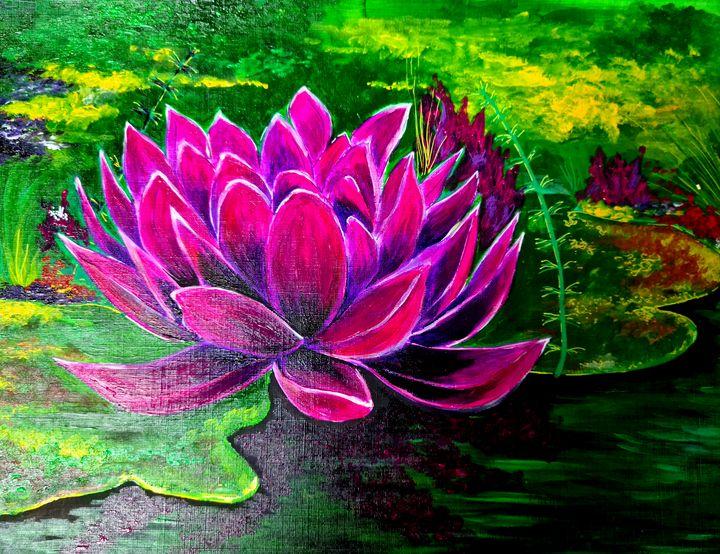 Hot pink Waterlily - Susan Worker Fine Art