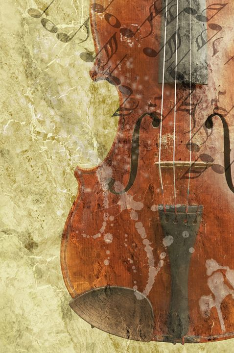 old fiddle in grunge style - Art Gallery