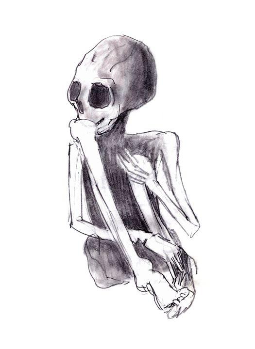 crouched skeleton - human skeleton - Art Gallery